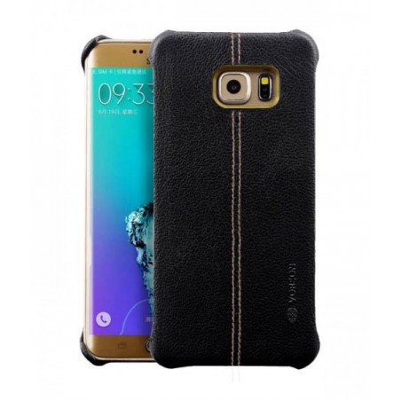 Samsung S7 Edge - Vorson LEXZA Series Double Stitch Leather Shell Back Cover