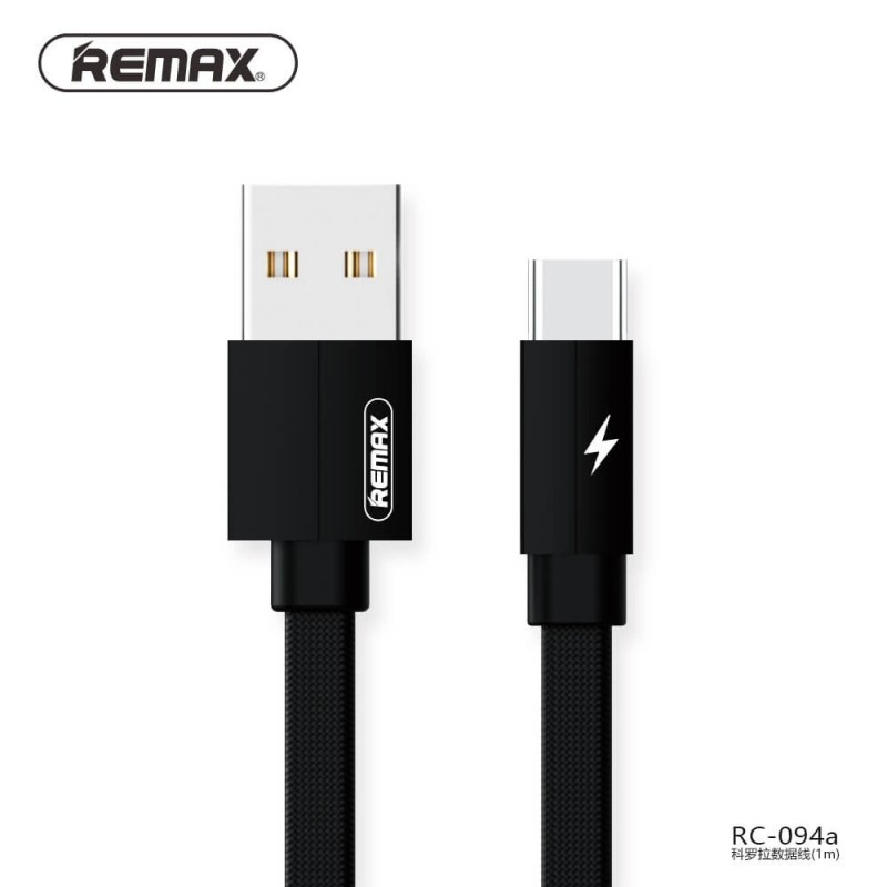 Remax RC-094A Kerolla Fabric USB Type-C Cable 2.1A. Reference: RC-094a.  In Stock