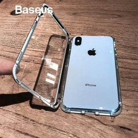 Baseus Magnetic Flip Metal Frame Tempered Glass Case For iPhone Xs Max
